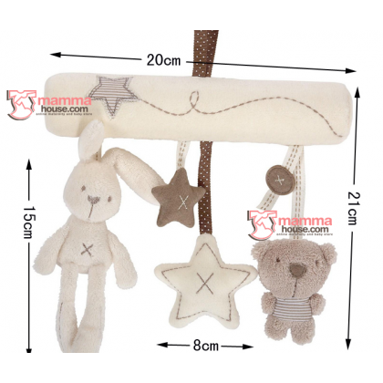 Baby Rattles - Long White Rabbit Bear