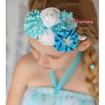Baby Headband - Elsa Whilte Rose Blue