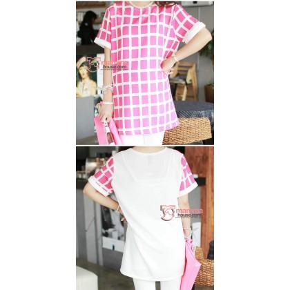Maternity Tops - Korean Grid Chiffon Pink