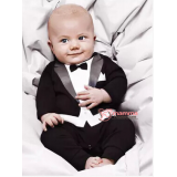 Baby Clothes - Romper Gentleman Romper Black