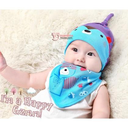 Baby Bib & Hat Set - Bear Stripe Blue