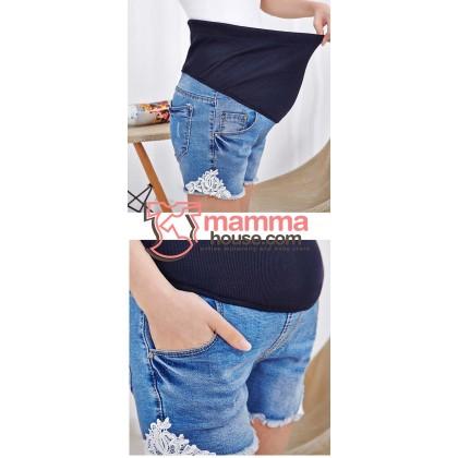 Maternity Shorts - Edge Lace Jeans