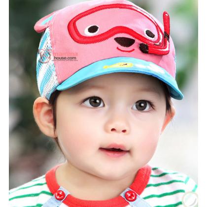 Baby Cap - Mesh Bear Pink