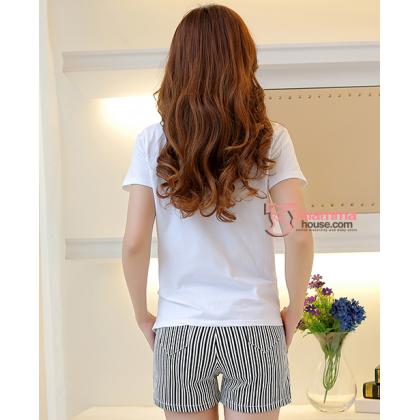 Maternity Shorts - Vert Stripe Black