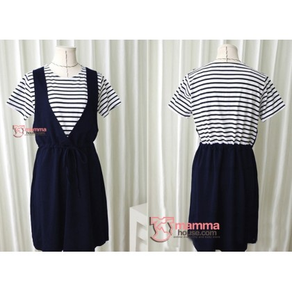 Maternity Dress - Fake 2 pcs V Stripe Dark Blue