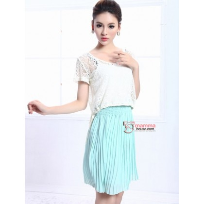 Maternity Dress - 2pcs Lace Green Blue