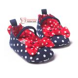 Baby Shoes -  Ribbon Polka Dark Blue