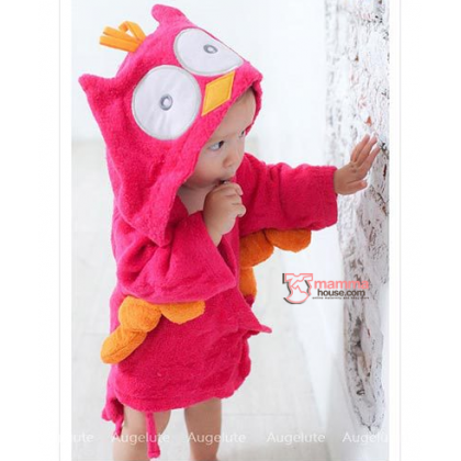 Baby Bathrobe - Cute Owl Pink