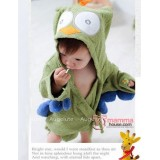 Baby Bathrobe - Cute Owl Green