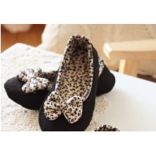 Mamma shoes - Leopard Ribbon (Black or Pink)