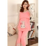 Mamma Pajamas - Rabbit Pink LONG Sleeves