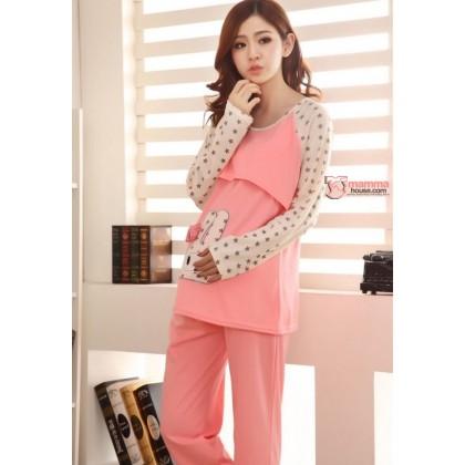 Mamma Pajamas - Rabbit Pink LONG Sleeves (defect set,no exchange,no refund)