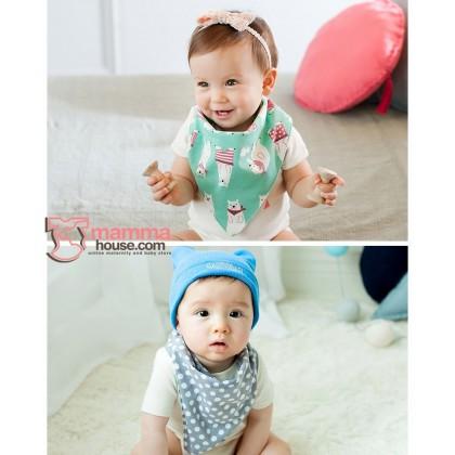 Baby Bib - Korean Cotton 2 way Bear (3 colors)