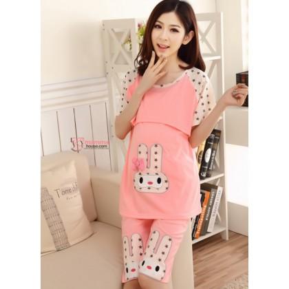 Maternity Nursing Pajamas  - Rabbit Pink SHORT Sleeves