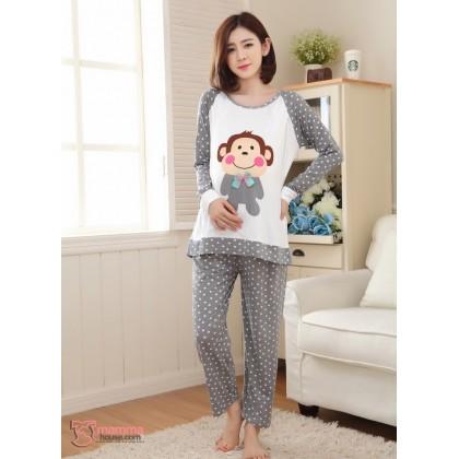 Maternity Nursing Pajamas - Long Grey Polka Monkey