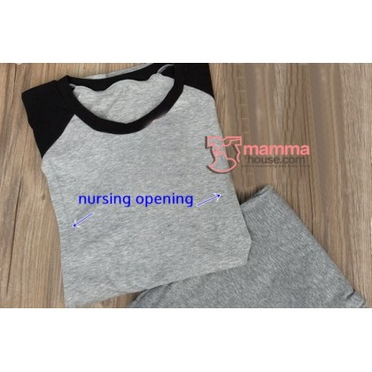 Maternity Nursing Pajamas - Long Grey Black