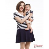 Nursing Set - Navy Stripe (plus baby romper)