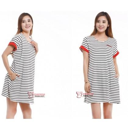 Nursing Set - Short Stripe Sleeves Red (plus baby romper)