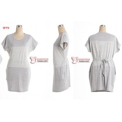 Nursing Dress - Cotton Mid Stripe (Dark Blue or Grey)
