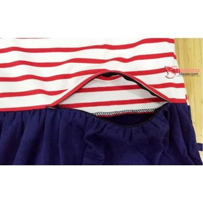 Nursing Dress - Angel Stripe Blue