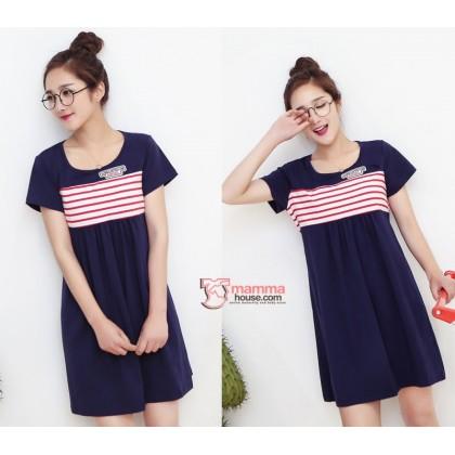 Nursing Dress - Angel Stripe Red