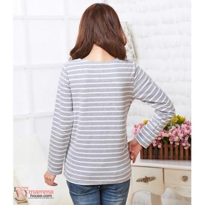 Nursing Tops - Just Stripe Grey