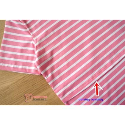 Nursing Tops - KR Simple Stripe Pink