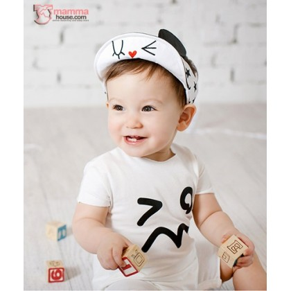 Baby Cap - Love Ear White