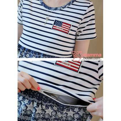 Nursing Dress - US Star Blue