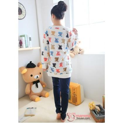 Maternity Nursing Pajamas - Long Bear Blue
