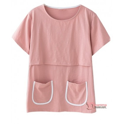 Nursing Tops - 2 pockets Pink