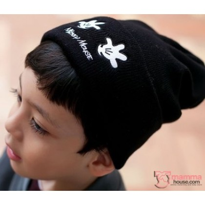 Baby Hat - Knitted Mickey Hands Black