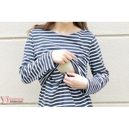 Nursing Tops - KR Long Stripe Dark Grey LONG