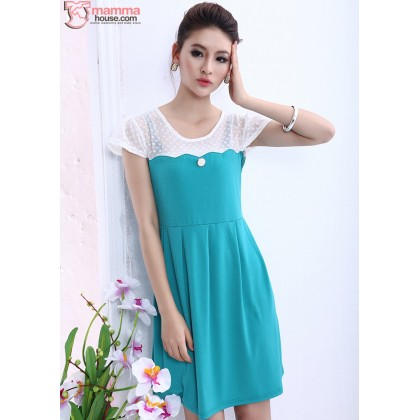 Maternity Dress - Shoulder Lace Dress (Green Blue or Pink)