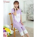 Mamma Pajamas - Love Purple (short sleeves set)