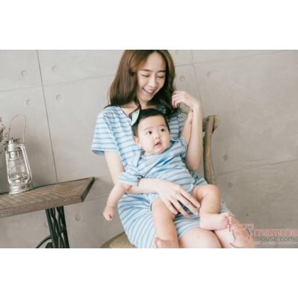 Nursing Set - Stripe Blue (plus baby romper) Dress