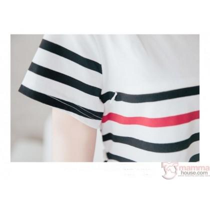 Nursing Dress - Line Red Top (plus baby romper)