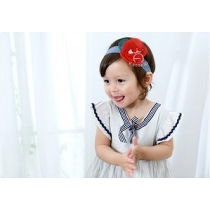 Baby Headband - Kaca Flower Red