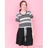 Nursing Dress - Bottom Black String Stripe Tiny