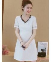 Maternity Dress - V Dress White