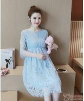 Maternity Dress - Elegant Lace Blue