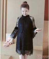 Maternity Dress - Ribbon Lace Black