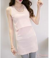 Nursing Singlet - Simple Singlet Pink Long