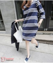 Maternity Dress - Stripe Dark Blue