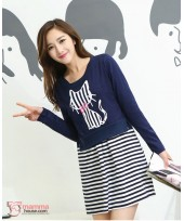 Maternity Dress - 2pcs Stripe Knitted Sleeves Long