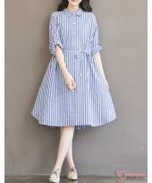 Maternity Dress - Long Stripe Light Blue
