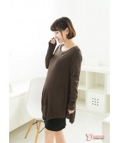 Nursing Dress - Long Brown Modal