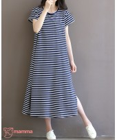 Maternity Dress - Long Stripe Dark Blue