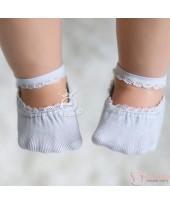 Baby Socks - Korean Lace Boat Grey