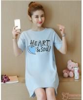 Nursing Tops - Cotton Heart Blue